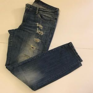 Guess Mid Rise Power Curvy Patched Jeans, Us32